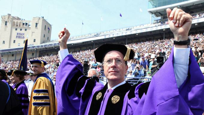 Stephen Colbert delivered the 2011 commencement address at Northwestern University – where he, NBC's Seth Meyers, this blogger and the TV Tyrant herself all went to college.